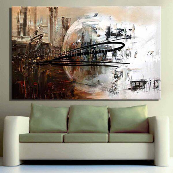 Cuadros decorativos para sala Luna 1 en colores ocre, café y plata
