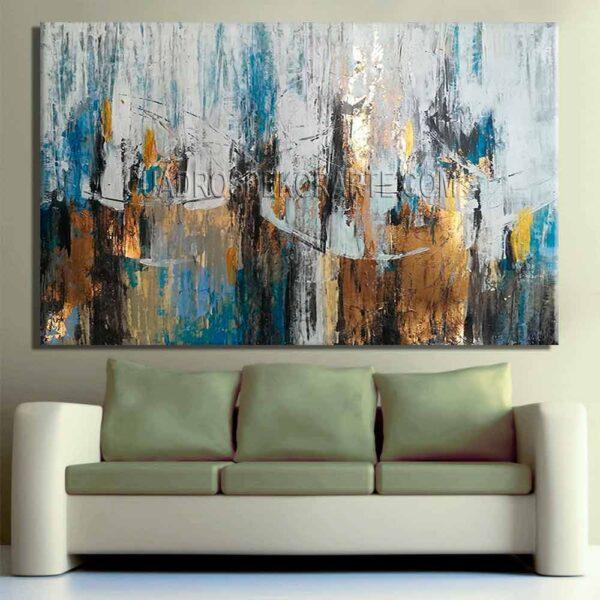 Pinturas abstractas para sala raíces azul, gris, ocre y dorado