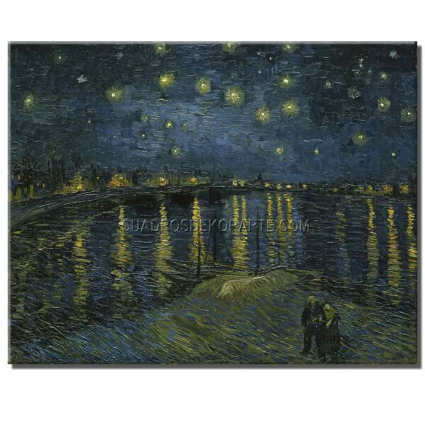 Cuadro La noche estrellada sobre el Ródano Vincent Van Gogh copia pintada a mano