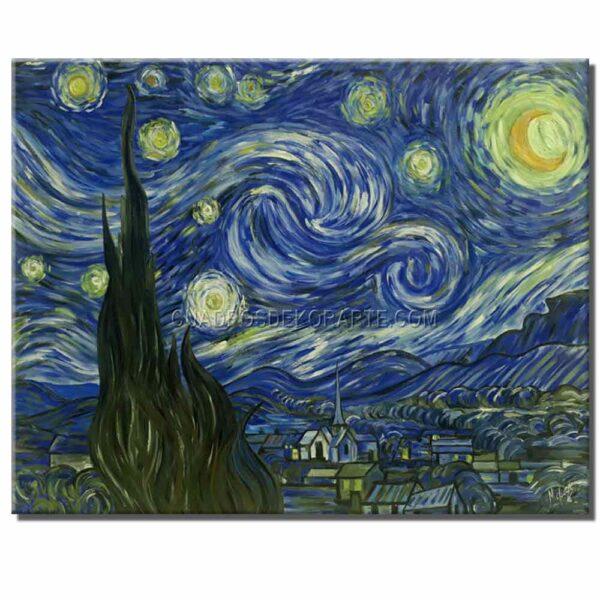 Cuadro La noche estrellada Vincent Van Gogh copia pintada a mano