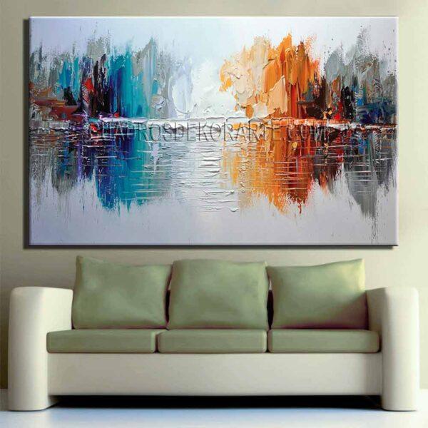 pinturas abstractas para sala arboleda colores en tonos gris, azul, rojo y naranja