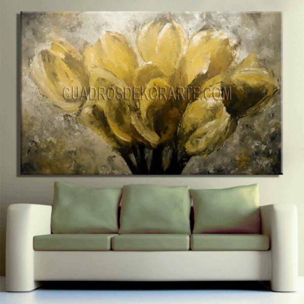 Pinturas impresionistas Tulipanes para sala decoración gris amarillo