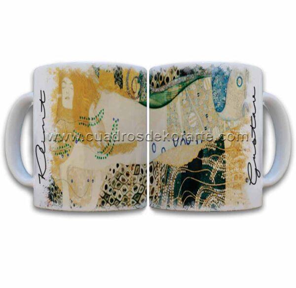 Tazas decoradas Gustav Klimt serpientes de agua