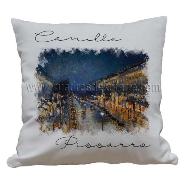 cojines decorativos Camille Pissarro boulevard montmartre de noche impresos en sublimación