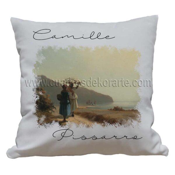 cojines decorativos Camille Pissarro dos mujeres conversando junto al mar impresos en sublimación