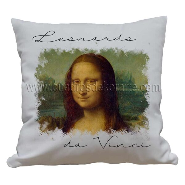 cojines decorativos Leonardo da Vinci la Gioconda impresos en sublimación