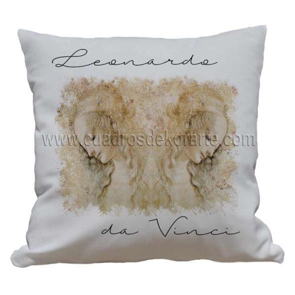 cojines decorativos Leonardo da Vinci rostro de mujer impresos en sublimación