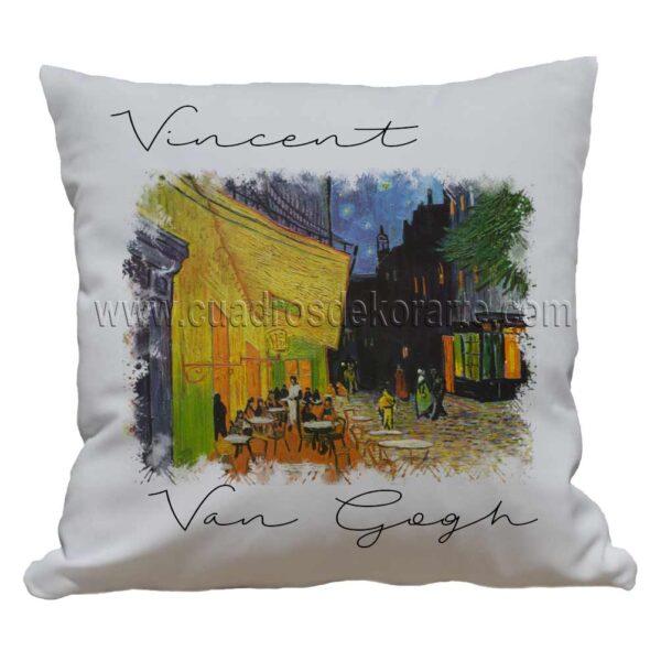 cojines decorativos Vincent van Gogh terraza de café por la noche impresos en sublimación