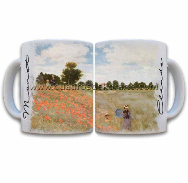 Tazas decoradas Claude Monet las amapolas