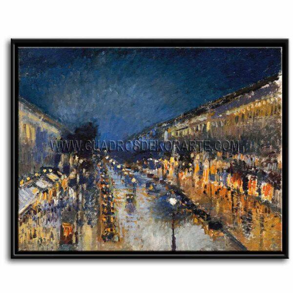Cuadro Boulevard Montmartre de noche de Camille Pissarro impresión digital en canvas