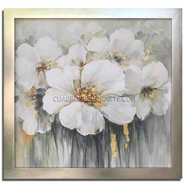 Cuadros decorativos floram 3 en colores gris y blanco