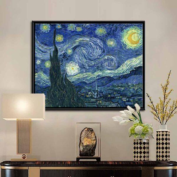 Cuadro decorativo la noche estrellada de Vincent Van Gogh con marco impresión digital en canvas