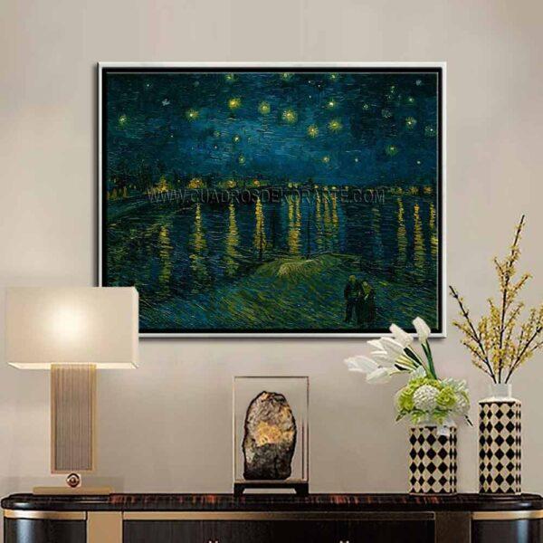 Cuadro decorativo la noche estrellada sobre el Ródano de Vincent Van Gogh impresión digital en canvas