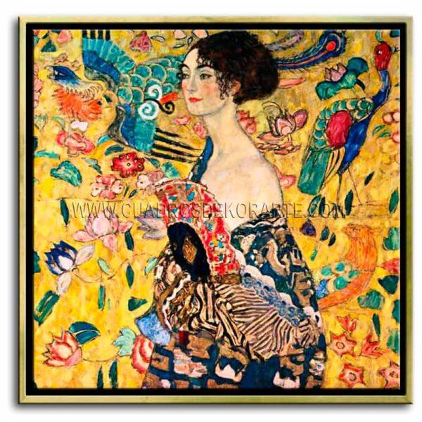 Cuadro mujer con abanico de Gustav Klimt impresión digital en canvas
