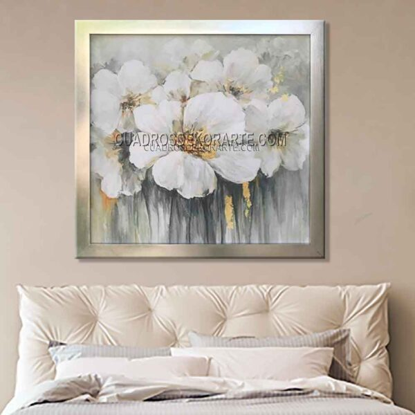 Cuadros decorativos para recámara floram 3 en colores gris y blanco