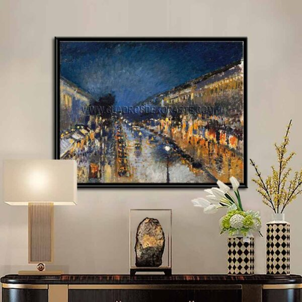 Cuadro decorativo boulevard Montmartre de noche de Camille Pissarro impresión digital en canvas