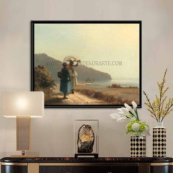 Cuadro decorativo dos mujeres conversando junto al mar de Camille Pissarro impresión digital en canvas