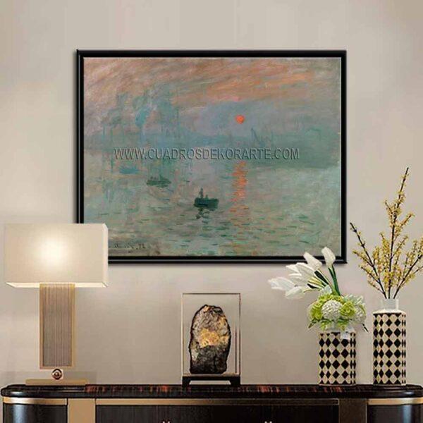 Cuadro decorativo Impresión sol naciente de Claude Monet impresión digital en canvas