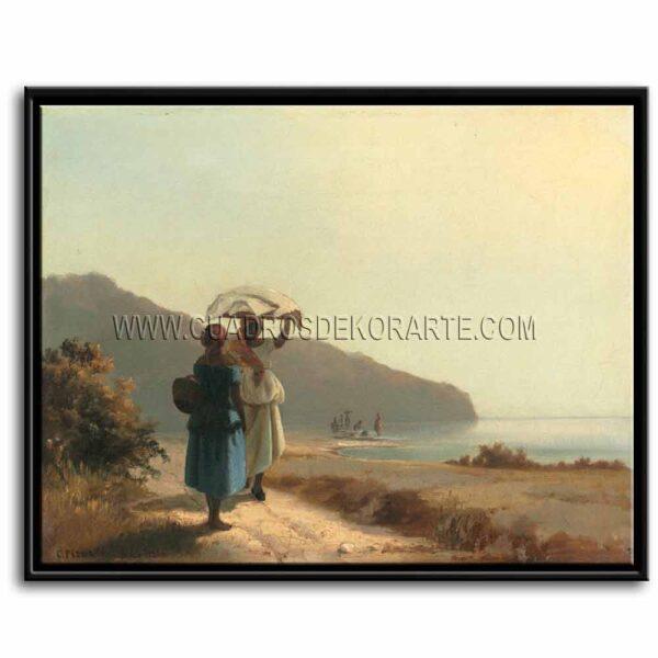 Cuadro Dos mujeres conversando junto al mar de Camille Pissarro impresión digital en canvas