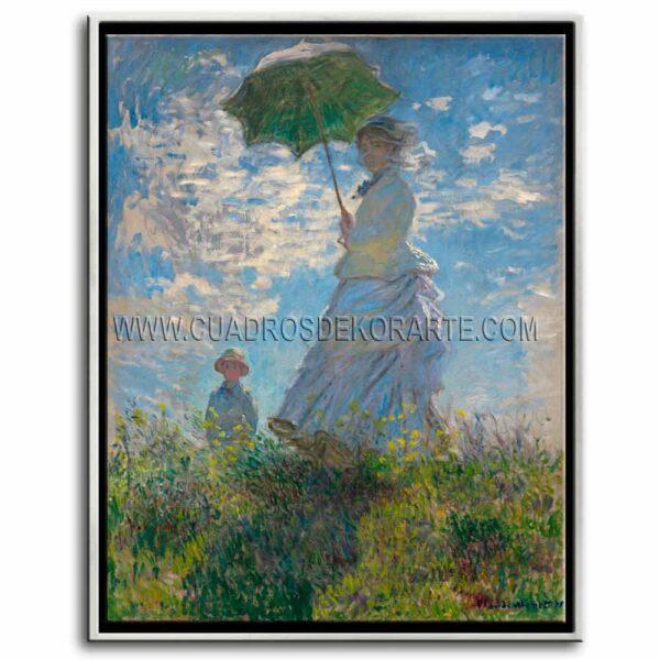 Mujer con sombrilla de Claude Monet impresión digital en canvas
