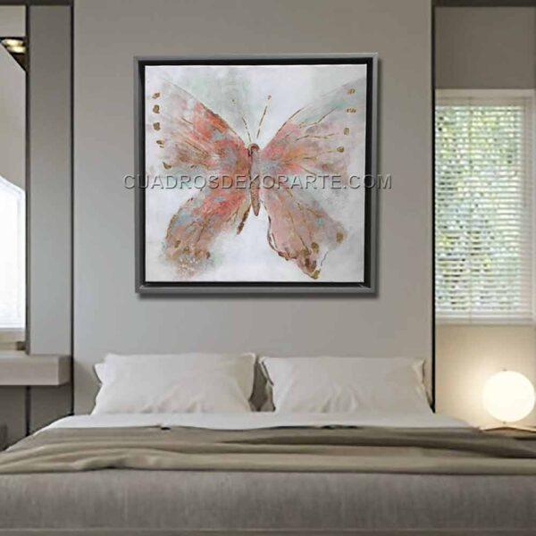 Cuadros decorativos para recámara mariposa rosa en colores gris y rosa
