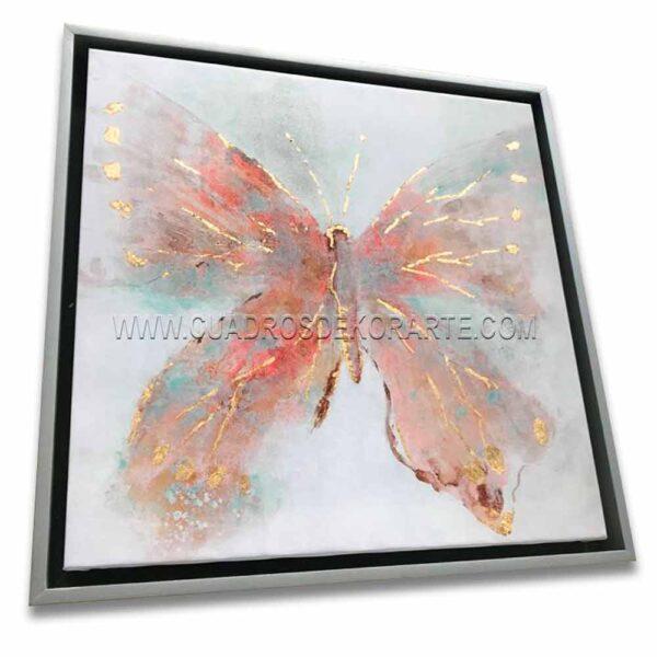 Cuadros decorativos mariposa rosa en colores gris y rosa