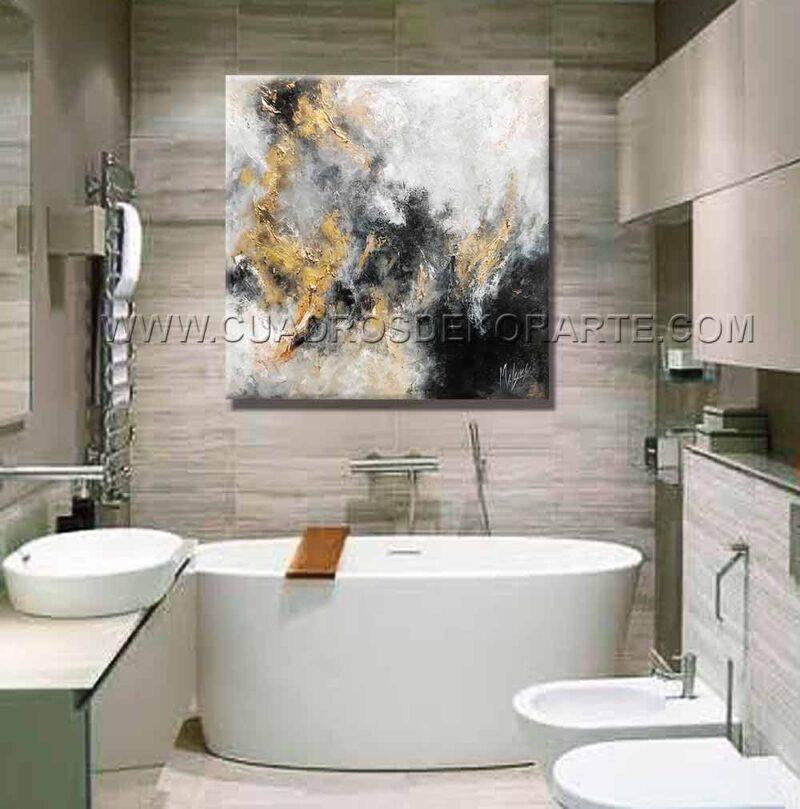 Pinturas abstractas Reflex 1 decoración blanco, gris, negro y dorado