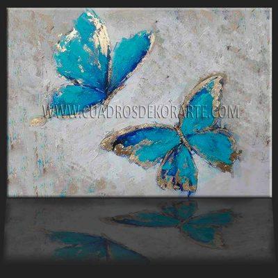 cuadros decorativos mariposas azules colores azul, dorado y beige