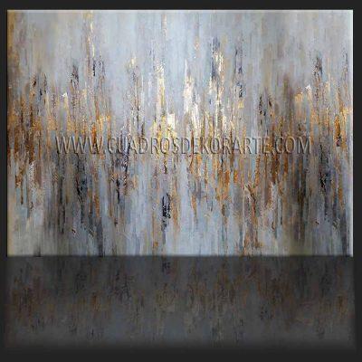 Pinturas abstractas Reflexión gris pintado a mano colores gris, beige y dorado