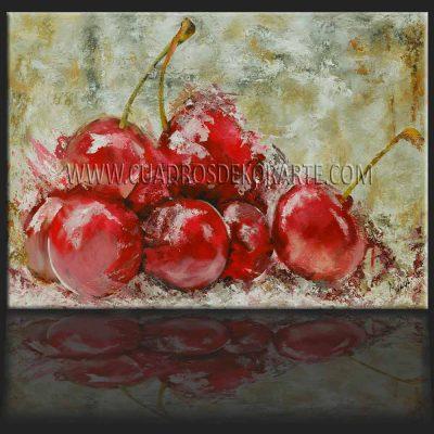 Pinturas impresionistas cerezas en colores ocre y rojo